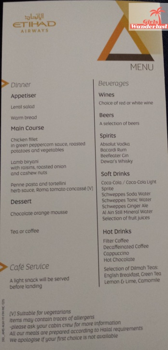 Food menu. How to survive a long-haul flight 40 Tips on traveling comfortable, drinks, food, and things to do..jpg