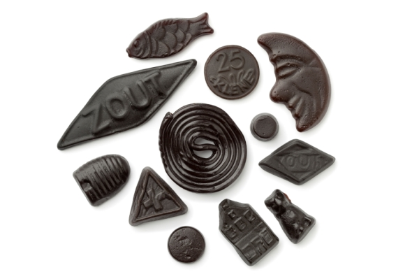 Assorted black and brown liquorice