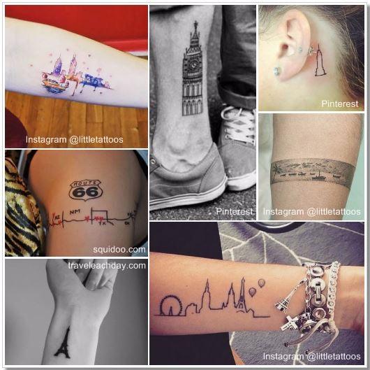 100 Amazing- and inspirational travel tattoos! City Skylines Collage #city #skyline #travel #tattoo #traveltattoo #girlswanderlust #wanderlust