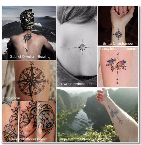 100 Amazing- and inspirational travel tattoos! Compass Collage 2 #compass #travel #tattoo #traveltattoo #girlswanderlust #wanderlust