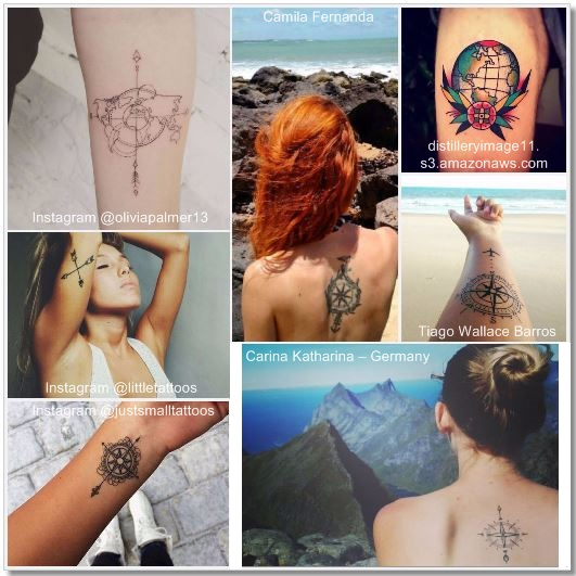 100 Amazing- and inspirational travel tattoos! Compass Collage #compass #travel #tattoo #traveltattoo #girlswanderlust #wanderlust