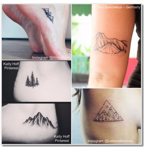 100 Amazing- and inspirational travel tattoos! Mountains Collage #Mountain #travel #tattoo #traveltattoo #girlswanderlust #wanderlust
