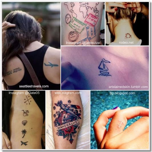 100 Amazing- and inspirational travel tattoos! Others Collage #travel #tattoo #traveltattoo #girlswanderlust #wanderlust