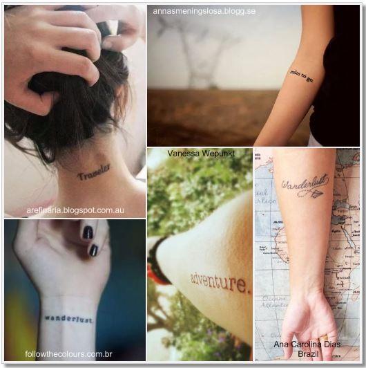 100 Amazing- and inspirational travel tattoos! Words and Sentences Collage #travel #tattoo #traveltattoo #girlswanderlust #wanderlust