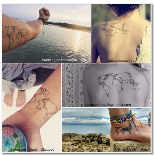 100 amazing and inspirational travel tattoos girlswanderlust worldmap collage 3 worldmap map gumiabroncs Image collections
