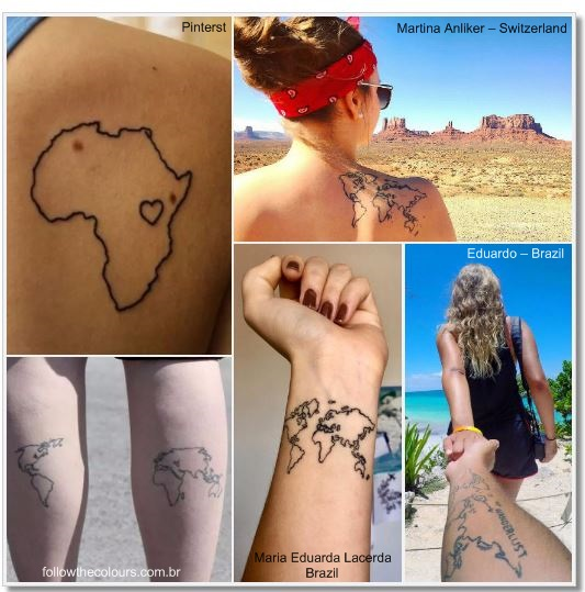 100 amazing and inspirational travel tattoos girlswanderlust 100 amazing and inspirational travel tattoos worldmap collage worldmap map globe gumiabroncs Image collections